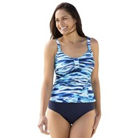 Watercolour Blues Plus Size Bathers 2 Piece Tankini Set