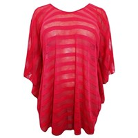 Striped Deep Fuchsia Caftan Plus Size Cover Up Top