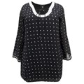 Black White Spot Beaded Plus Size Tunic Top Cover Up