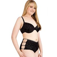 Plus Size Black Silver Foil Underwire Bra Panty Set