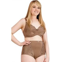 Plus Size Coffee Underwire Bra High Waist Panties Set