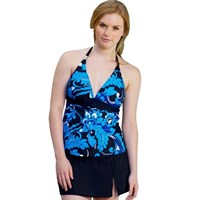 Blue Black Skirted Two Piece Halter Skirtini Cossie Set