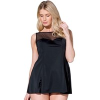 Mesh Insert Bodice Black Skirted Plus Size Swimdress