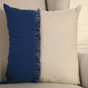 French Blue & Natural Cushion