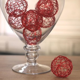 Red Filigree Vase Filler Balls - Two Sizes