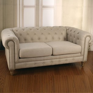 Sofa Two Seater 100% Linen 'Chesterfield'