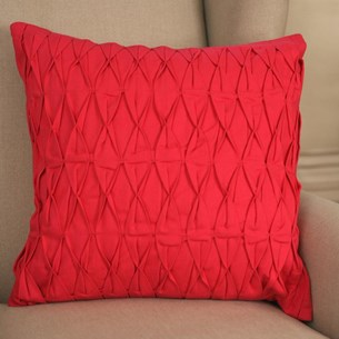 Ruched Cotton Cushion - Pink