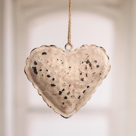 Rustic Tin Heart Hanger Small - red or cream
