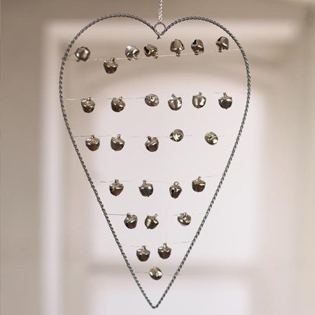 Hanging Silver Heart with Bells - Two Sizes