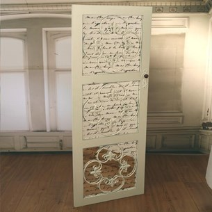 French Script 'Elegant Door' Mirror
