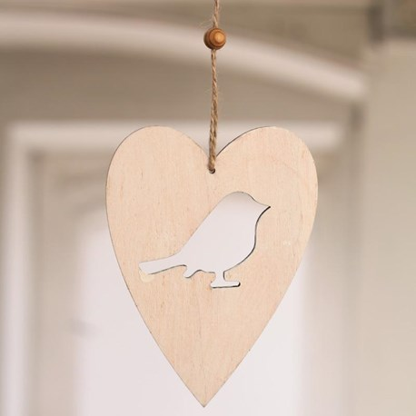 Hanging Wooden Heart with Bird