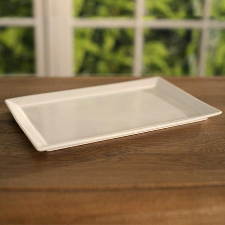 White Ceramic Serving Tray (edge)