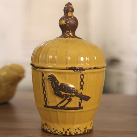 Ceramic Canister 'Birdcage' - Yellow