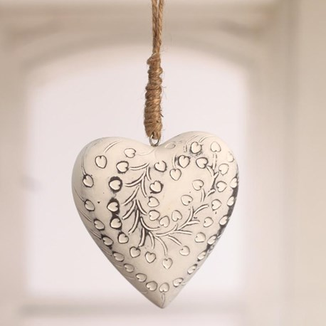 Hanging Patterned Heart - Two Sizes
