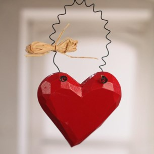 Red Carved Heart with Straw Bow