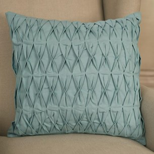 Ruched Cotton Cushion - Duck Egg Blue