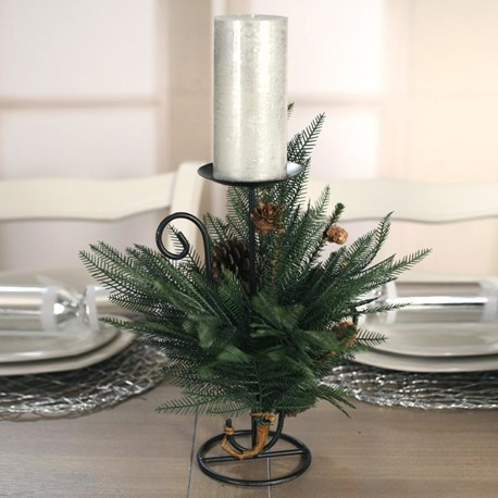 Table Centre One Candle Fern