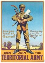 ARE YOU FOND OF GAMES? Territorial Army First World War Propaganda Poster