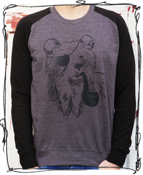 Pirate Bear Black Sleeve Jumper