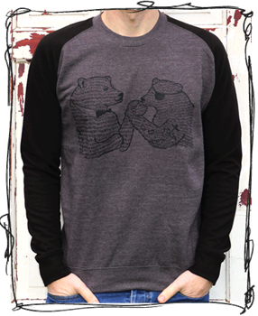Wrestling Bears - Black Sleeve Jumper
