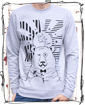 'Cocktail Bear' Jumper - Grey or Charcoal/Black Sleeves