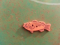 fish button orange 2 inches