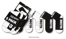 Globe Socks 5 PACK Crew Black and White