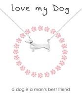 'Love my Dog' Sterling Silver Necklace