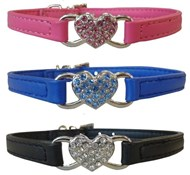 Leather & Crystal Heart Dog Collar
