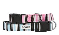 DOGUE Striped Canvas Dog Collar (Pink & Blue)