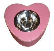 Leather Heart Shaped Pet Bowl (Dark Pink)