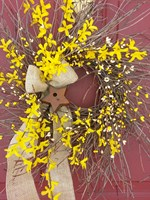 Forsythia/Burlap Bow/Berry Wreath with Birdhouse