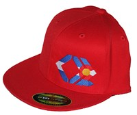 CO Flag - Red, Flexfit, Flat Brim Hat