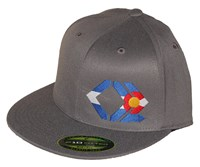 CO Flag - Grey, Flexfit, Flat Brim Hat