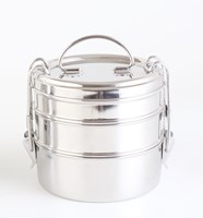 Green Essentials Triple Bento Round Stainless Steel Lunch Box 1500 ml
