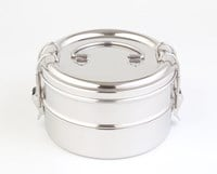 Green Essentials Double Bento Round Stainless Steel Lunch Box 1400 ml