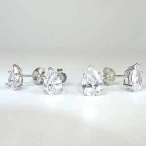 New!!!  Pear-shaped 'diamond' studs in two sizes