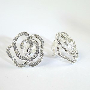 NEW! Party pieces;  the clip-on 'Diamond' Flower EARRINGS!