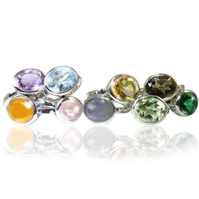 The Silver Oval Gemstone Ring