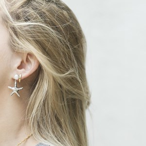 The Silver Large Pearl and Starfish Earring