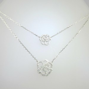 New! Double Riviera Flower Necklace