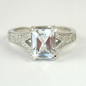 Square-cut 'Diamond' Ring With Diamond Shoulders