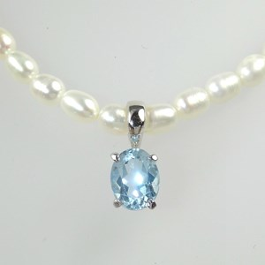 New! Blue Topaz pendant on pearls - the perfect Christening present?