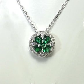New! Emerald Clover Cluster Pendant