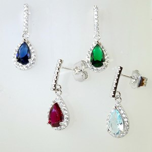 The exquisite shimmering Gemstone Teardrop Earrings