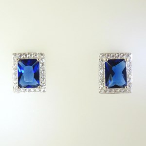 NEW!! Fine Square-cut Sapphire and Diamond Earrings