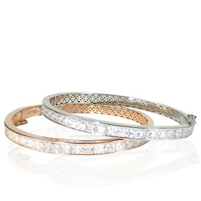 The Silver and Rose Gold 'Diamond' Bangles