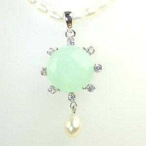 NEW! Aqua Chalcedony, CZ and Pearl-drop Necklace