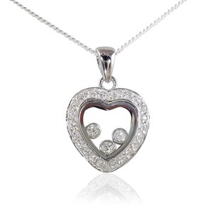 The Heavenly Floating Diamond Heart Pendant