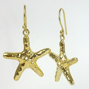 Large Gold Starfish Hook Earrings
